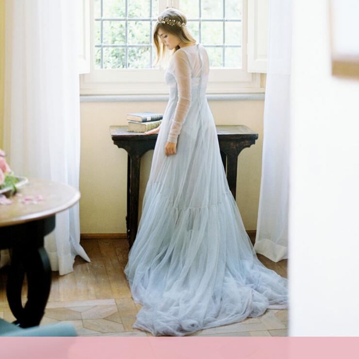 25 свадебных платьев небесно-голубого цвета – Oh My Wed Day